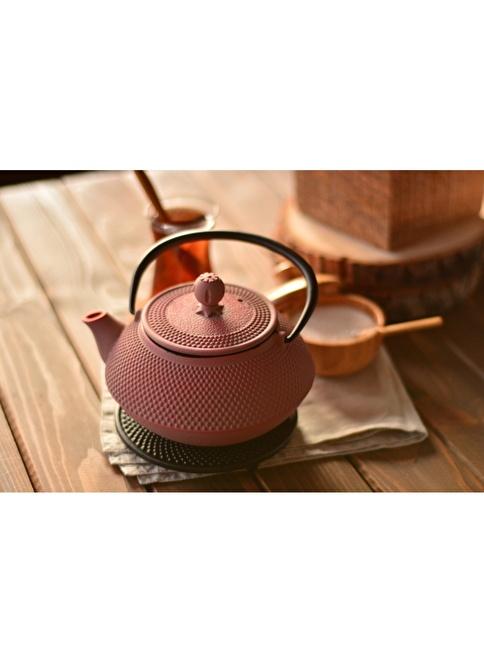 Bambum Taşev Linden - Sümbül 800 ml Toz Pembe Döküm Çaydanlık Pembe